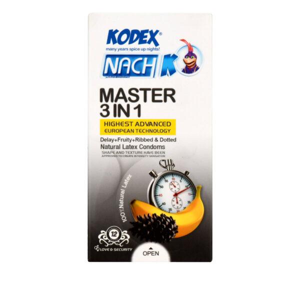 کاندوم کدکس مدل Master 3 in 1 بسته 12 عددی